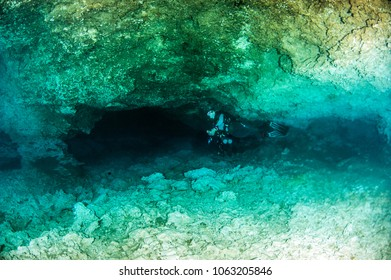 "Diving in the Cenote ""Tajma Ha"" in Yucatan, Mexico"