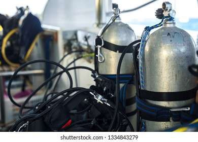 Diving Cylinders on the boat