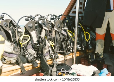 Diving equipment on board the boat close up