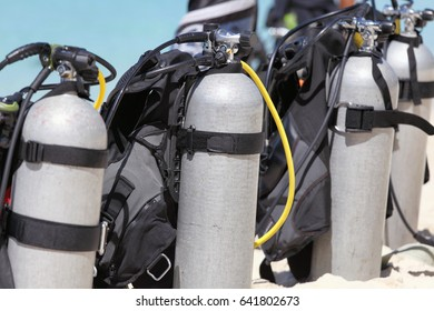 Diving equipment on the white beach of the island of Boracay in the Philippines