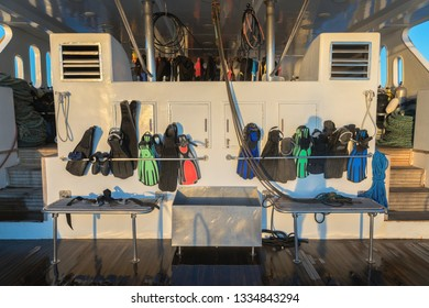 Diving fins on the boat