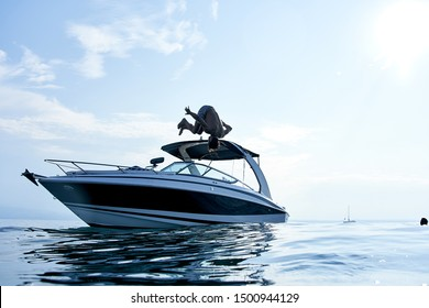 Diving head first from a yacht