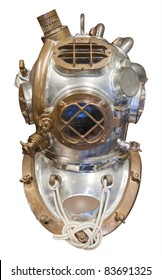 Diving helmet in brass and steel for deep sea diving, isolated with clipping path