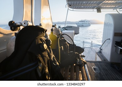 Diving jackets on the boat