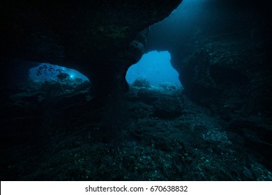 Diving in a lava tube in Kona Hawaii