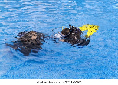 Diving lesson in a swimming pool