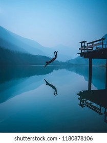 Diving is the sport of jumping or falling into water from a platform or springboard, usually while performing acrobatics. Diving is an internationally recognized sport that is part of the Olympic.