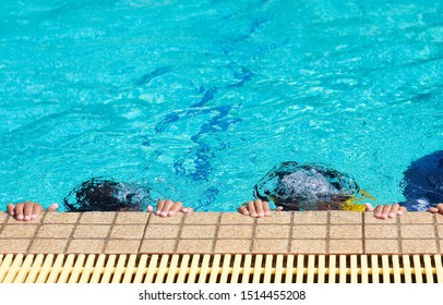 Diving training for children background, sport background, School subject.
