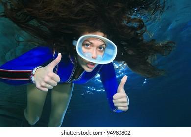 Diving woman
