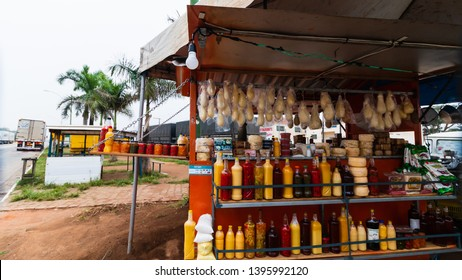 Divisa Alegre, Minas Gerais, Brazil - 05/01/2019:  The Cheese and handicrafts for sale in Divisa Alegre a small town on the border of the states of Minas Gerais and Bahia, cut by highway BR-116