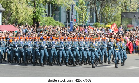 Division Military Women rescuers at the parade. St. Petersburg, Russia - 9 May, 2016. Festive military parade on the Palace Square in St. Petersburg.