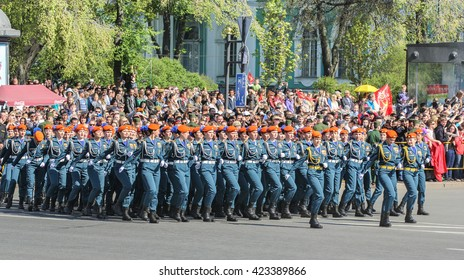 Division Military Women rescuers. St. Petersburg, Russia - 9 May, 2016. Festive military parade on the Palace Square in St. Petersburg.