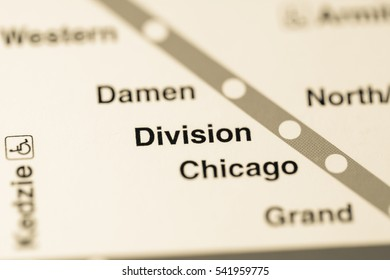 Division Station. Chicago Metro map.