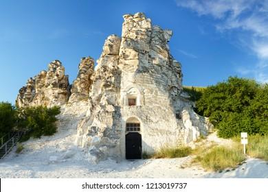 Divnogorie, Voronezh region, Russia, June 28, 2018: Divnogorsk Assumption Monastery, Church of Our Lady of Sicily. Close-up.