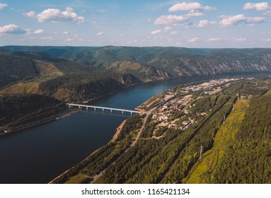Divnogorsk cityscape from aerial view. Krasnoyarsk hydropower plant