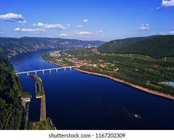 Divnogorsk cityscape from aerial view. Krasnoyarsk hydropower plant