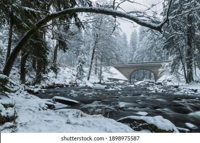 Divoka Orlice river in Zemska brana, Orlicke mountains, Eastern Bohemia, Czech Republic - Shutterstock ID 1898975587