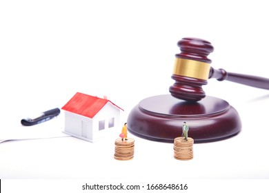 Divorce certificate and small house model