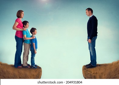 divorce concept family separation man woman and children separated by a chasm