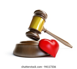 divorce in court on a white background