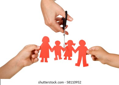 Divorce effect on kids concept with hands cutting paper people family - isolated