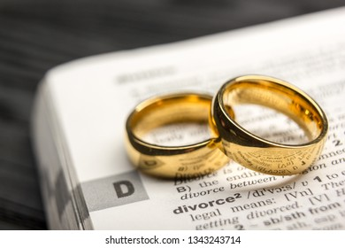 Divorce and separation concept. Two golden wedding rings. Dictionary definition