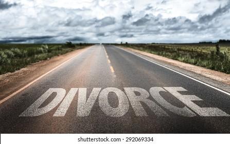 Divorce written on rural road