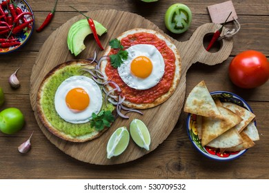 Divorced eggs, mexican breakfast eggs on corn tortilas