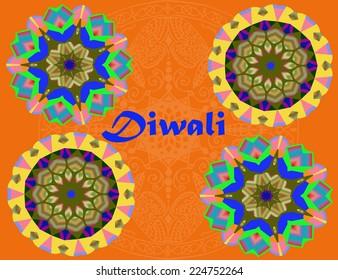 Diwali celebration abstract mandalas