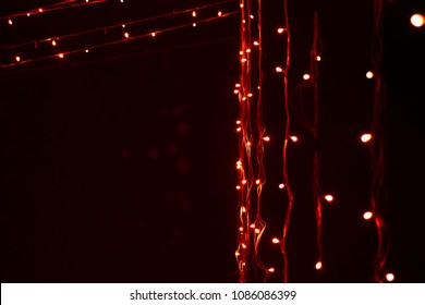 Diwali/ Christmas/Marriage decoration red, yellow LED lights with little bokeh effect.