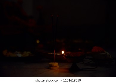 diwali decoration with oil lamps