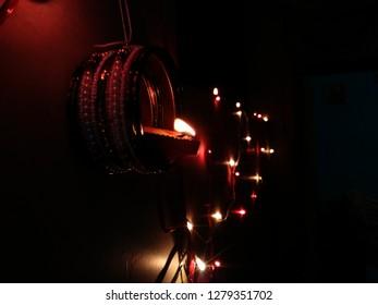 Diwali deepak photo with lighting in dark background.