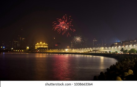 Diwali fireworks at Marine Drive.  Marine Drive is the most beautiful place at Mumbai, it's also known as Queen's Necklace.
