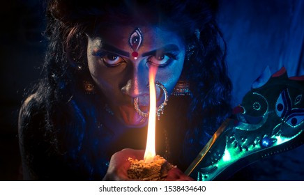 . Diwali Look Photo-shoot based on   'KALI PUJA' Festival with ethnic look. like A face of Hindu goddess kali