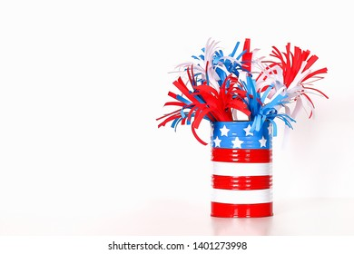 Diy 4th of July paper salute color American flag, red, blue, white. Gift idea, decor July 4, USA Independence Day. Step by step. Top view. Process kid children craft. Workshop.