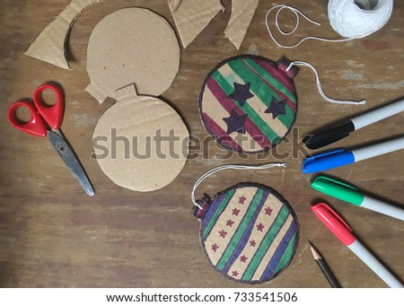 Diy Christmas Decorations Cardboard Paper Homemade Stock Photo Edit