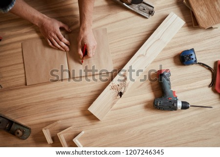 Woodworking and crafts resources. Handicraft Carpentry. Top view