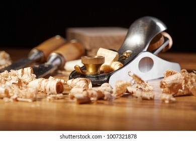 DIY concept. Woodworking and crafts tools. Carpentry hand tools. Planers, chisels, measuring tools. Wooden background.