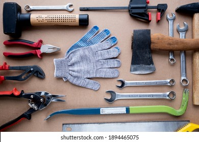 DIY construction tools set with gloves