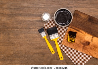 DIY dark wood wall with wax toning, background for photos