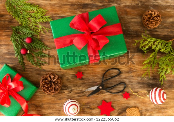 Christmas Gift Wrapping Station.Diy Gift Wrapping Beautiful Green Christmas Stock Photo