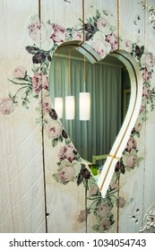 diy heart-shaped wooden frame mirror decorated and painted  indoor