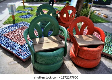 DIY idea to recycle of tire used with chair,Close up reuse sitting seat made from car tire,design for DIY,for business