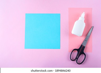 DIY and kid's creativity, origami. Step by step instruction: how to make bookmark easter bunny. Step2 cut square out of blue paper. Easter craft