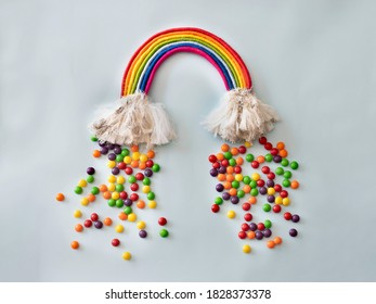 diy rainbow and rain made of skittles candies