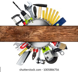 DIY tools collage concept behind wooden plank with copy space and circular saw blade isolated on white background
