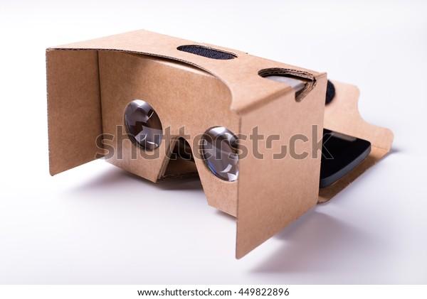 Diy Virtual Reality Headset Precut Cardboard Stock Photo