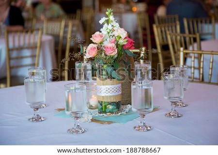 Diy Wedding Decor Table Centerpieces Wine Stock Photo Edit Now