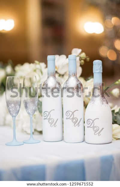 Diy Wedding Decor Table Centerpieces Wine Stock Photo (Edit Now ...