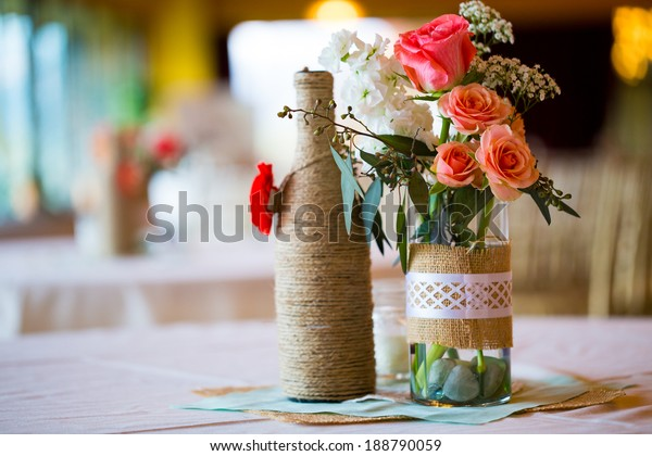Diy Wedding Decor Table Centerpieces Wine Stock Photo (Edit Now ...